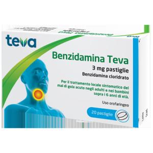 benzidamina teva 20 pastiglie 3mg bugiardino cod: 044448049